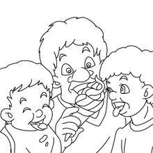Desenho de um pai comendo sorvete com seus filhos para colorir