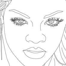 Desenho do close da Rihanna para colorir