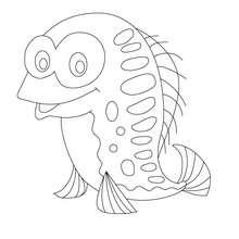 Desenho de um peixe divertido para colorir