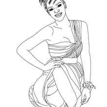 Desenho da Rihanna, cantora de R&B para colorir