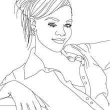 Desenho da linda Rihanna para colorir