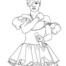 Desenho da Rihanna cantando para colorir