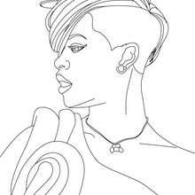 Retrato da Rihanna para colorir
