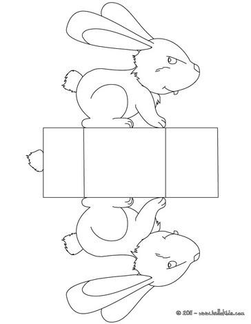 Caixa com um coelhinho da páscoa para colorir, imprimir e recortar