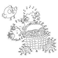 Jogo de ligar os pontos - Ovos de páscoa com galinhas