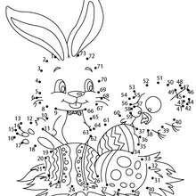Jogo de ligar os pontos - Ovos de páscoa com um coelhinho
