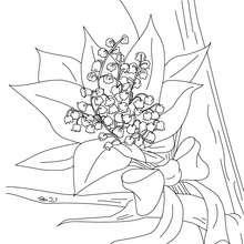 Cartão para colorir de um buquê de lírio-do-vale