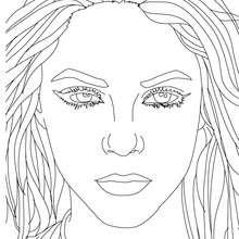 Retrato da Shakira para colorir