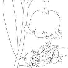Desenho para colorir de um lírio-do-vale com um duende