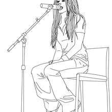 Desenho da cantora Avril Lavigne para colorir
