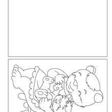 Cartão para colorir de uma mamãe urso