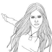 Desenho da bela Avril Lavigne para colorir