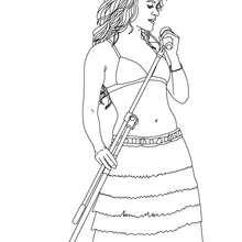 Desenho da Shakira cantando para colorir