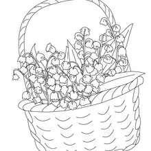 Desenho para colorir de uma cesta de lírio-do-vale