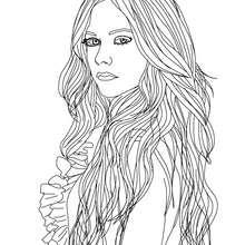 Desenho da designer de moda Avril Lavigne para colorir