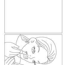 Cartão para colorir de uma mãe passando batom