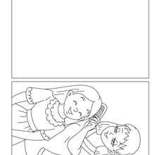 Cartão para colorir:  mãe e filha