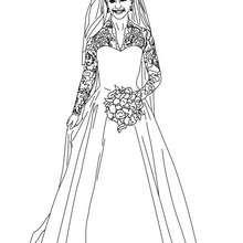Desenho do vestido do casamento Real da Kate Middleton para colorir