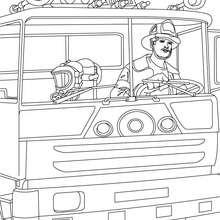 Desenho de um caminhão de bombeiros para colorir