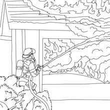 Desenho de um bombeiro extinguindo o fogo para colorir