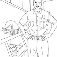 Desenho de um bombeiro com seu uniforme para colorir