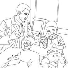 Desenho de um dentista ensinando uma criança a escovar os dentes para colorir