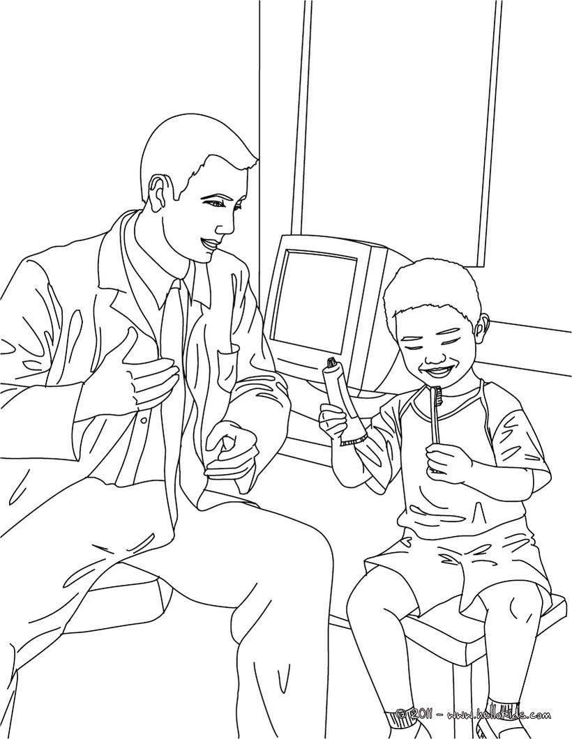 Desenhos Para Colorir De Desenho De Um Dentista Ensinando Uma