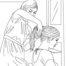 Desenho de uma menina sendo penteada no cabeleireiro para colorir