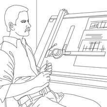Desenho de um arquiteto desenhando um projeto para colorir