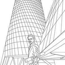 Desenho de um arquiteto admirando o seu prédio para colorir