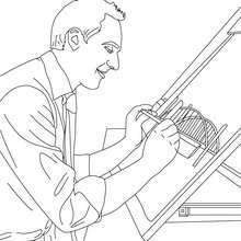 Desenho de um arquiteto medindo o seu projeto para colorir