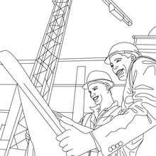 Desenho do arquiteto lendo a planta com o trabalhador para colorir