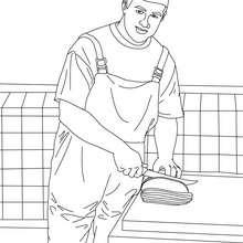Desenho de um Açougueiro cortando a carne para colorir