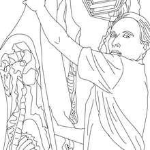 Desenho de um Açougueiro escolhendo um pedaço de carne para colorir