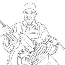 Desenho de um Açougueiro fatiando presunto para colorir