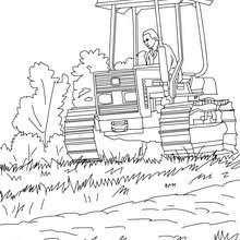 Desenho de um fazendeiro no seu trator para colorir