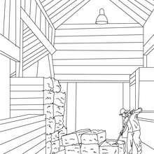 Desenho de um fazendeiro armazenando a palha para colorir