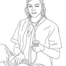 Desenho de uma enfermeira medindo a pressão para colorir