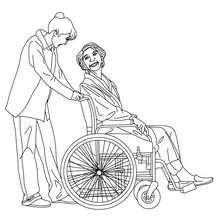 Desenho de uma enfermeira cuidando de uma velhinha para colorir