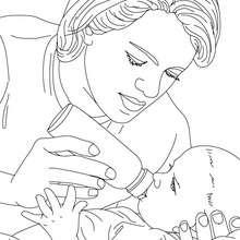 Desenho de uma enfermeira pediatra dando mamadeira a um recém nascido para colorir
