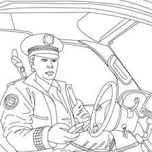 Desenho de um policial no seu carro de polícia para colorir