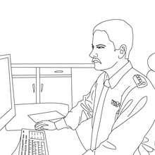 Desenho de um policial na delegacia para colorir