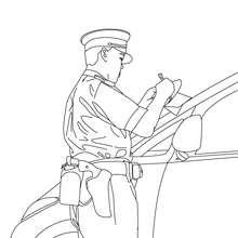 Desenho de um policial multando um carro mal estacionado para colorir