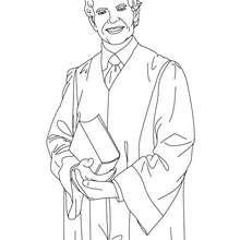 Desenho para colorir de um advogado