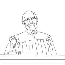 Desenho para colorir de um Juiz ouvindo um advogado