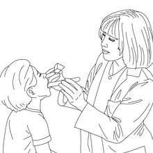Desenho de uma Pediatra consultando uma criança para colorir
