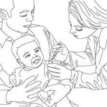 Desenho de uma criança sendo vacinada por um médico para colorir
