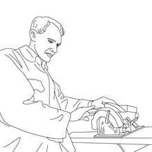 Desenho para colorir de um Carpinteiro cortando madeira
