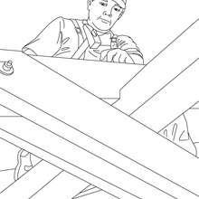 Desenho de um Carpinteiro no teto para colorir