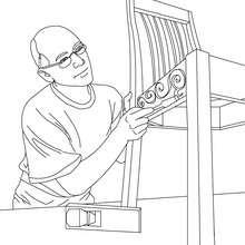 Desenho para colorir de um Carpinteiro trabalhando
